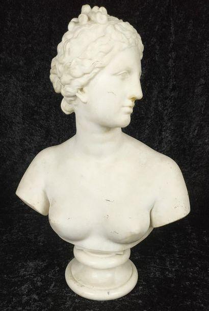 D'APRES L'ANTIQUE Buste de Diane Marbre blanc...