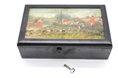 Boîte à cigares ornée d'une aquarelle