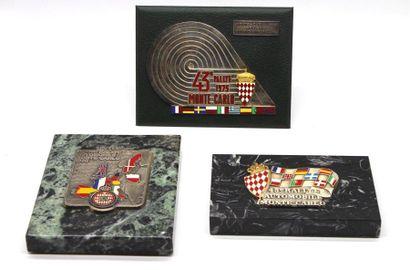 Badges des 43, 45 et 46° Rallyes Monte Carlo:...