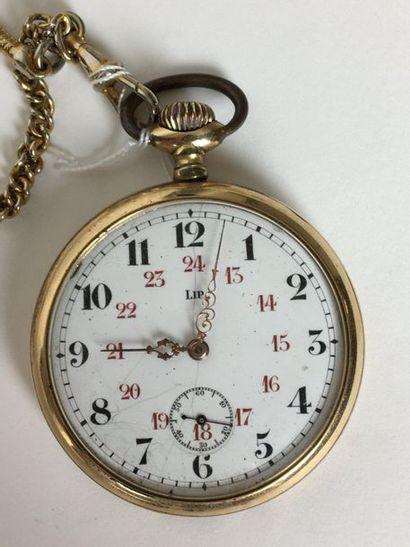 LIP Montre à gousset chronomètre en plaqué...