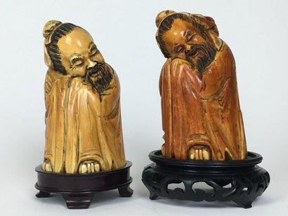 JAPON Deux GROUPES sculptés représentant...