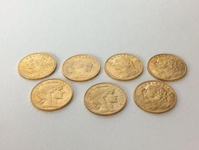 FRANCE-SUISSE -Helvetia 20 francs or 5 pièces...