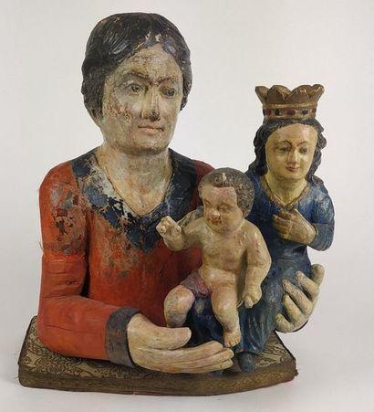 BUSTE de sainte Anne trinitaire en bois sculpté...