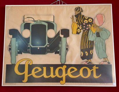 René VINCENT (1879-1936)  Peugeot  Affiche...
