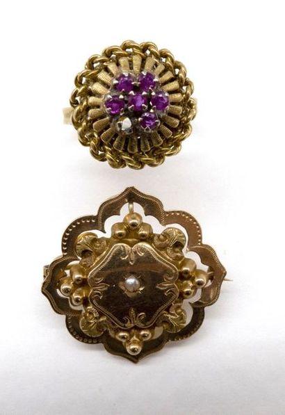 ENSEMBLE de deux bijoux en or jaune 18K comprenant...