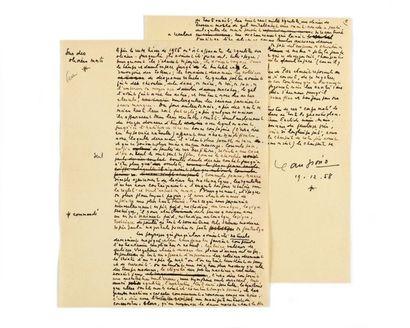 GIONO (Jean). Manuscrit autographe intitulé...