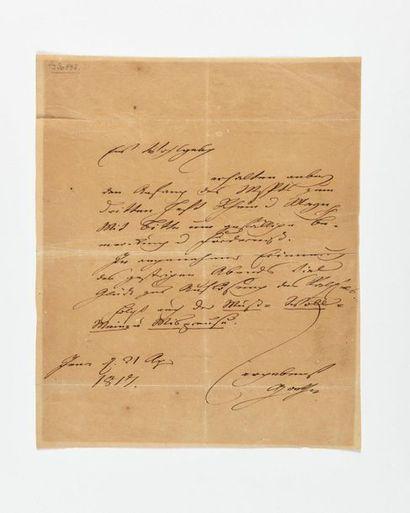 GOETHE (Johann Wolfgang von). Lettre autographe...