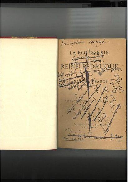 FRANCE (Anat ole). La Rôtisserie de la reine Pédauque. Paris, Calmann-Lévy, 1920....