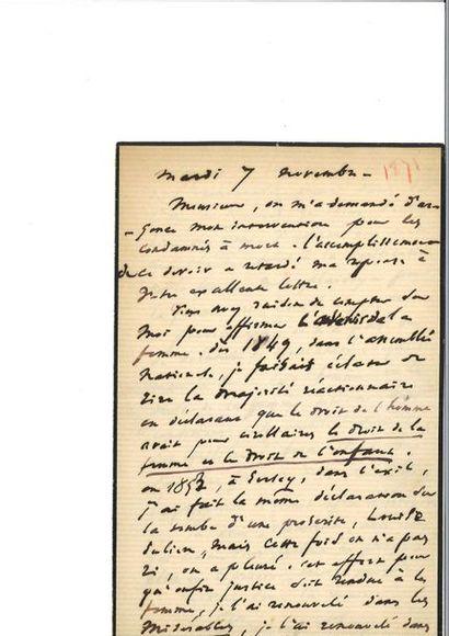 HUGO (Victor). Lettre autographe signée [à...
