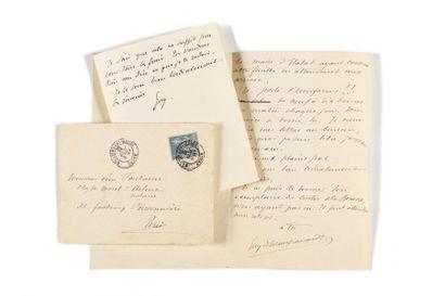 MAUPASSANT (Guy de). 2 lettres autographes...