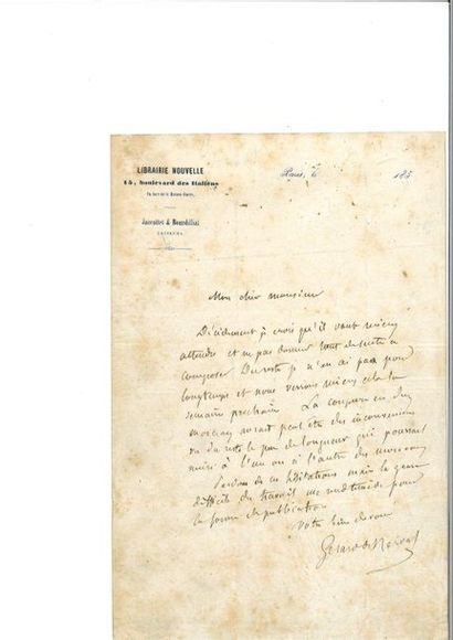 NERVAL (Gérar d de). Lettre autographe signée...