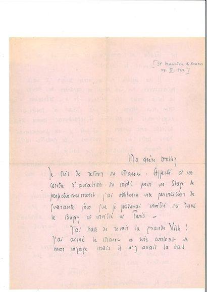 SAINT-EXUPÉRY (Antoine de). Lettre autographe...