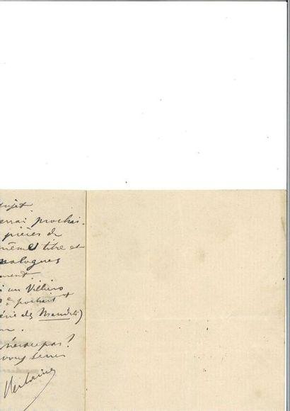 VERLAINE (Pau l). Lettre autographe signée...