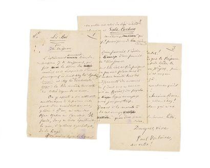 VERLAINE (Pau l). Manuscrit autographe signé...