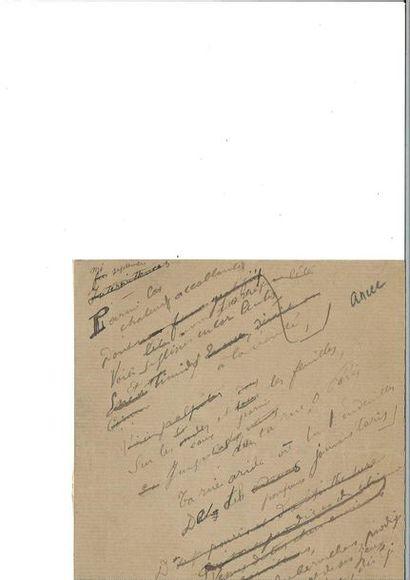 VERLAINE (Pau l). Poème autographe signé....