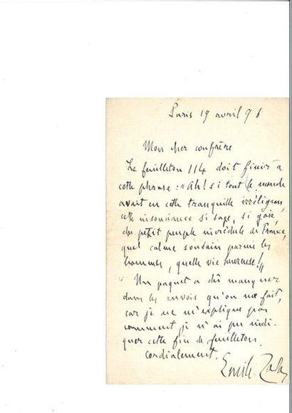 ZOLA (Émile). Lettre autographe signée [probablement...