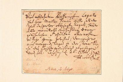 BACH (Johann Seba stia n). Manuscrit autographe...