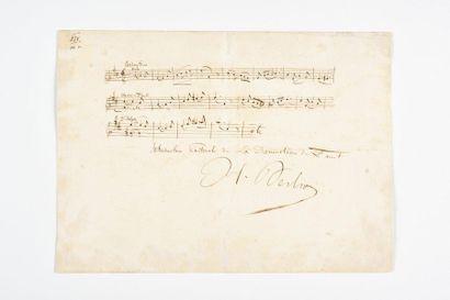BERLIOZ (Hector). Citation musicale autographe...