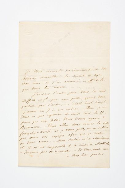 CHOPIN (Frédéri c). Lettre autographe signée « Ch » [à Solange Clésinger]. Paris,...