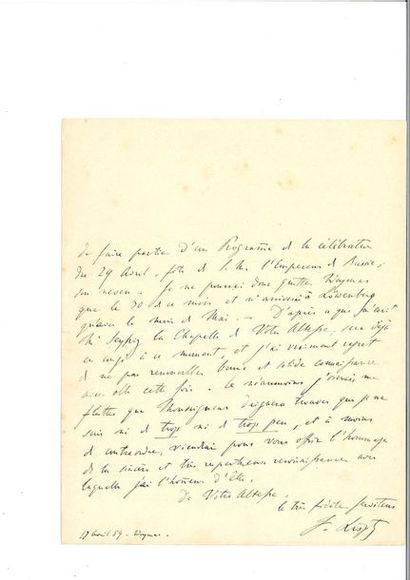 LISZT (Fra nz). Lettre autographe signée,...