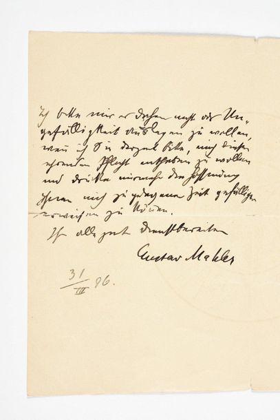 MAHLER (Gusta v). Lettre autographe signée,...