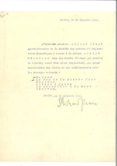 STRAUSS (Richard). Lettre signée, en français,...