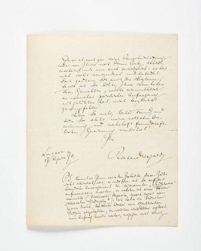 WAGNER (Richard). Lettre autographe. Lucerne,...