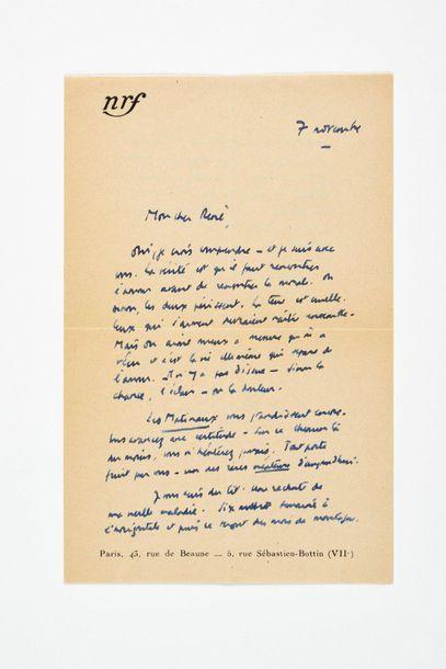 CAMUS (Albert ). Lettre autographe signée...