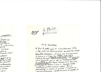 CAMUS (Albert ). Brouillon autographe d'une...