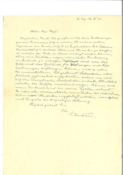 EINSTEIN (Albert ). Une lettre en partie...