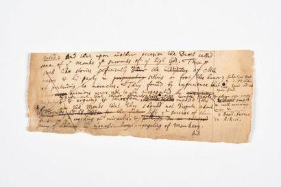 NEWTON (Isaac). Manuscrit autographe. [Vers...