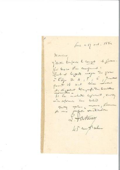 PASTEUR (Louis). Lettre autographe signée...