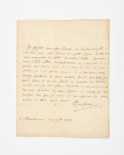 ROUSSEAU (Jean-Jacque s). Lettre autographe...