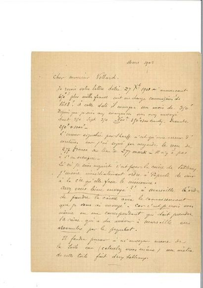 GAUGUIN (Pau l). Lettre autographe signée...