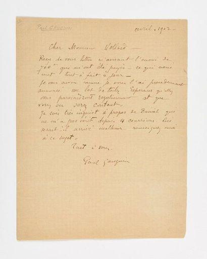GAUGUIN (Pau l). Lettre autographe signée à Ambroise Vollard. [Hiva Oa], avril 1902....