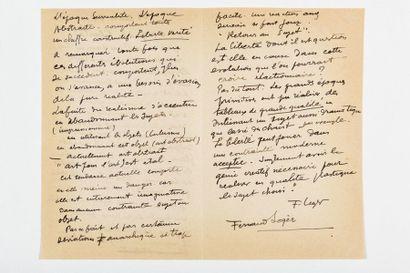 LÉGER (Fer nand). Manuscrit autographe signé intitulé « À propos de la liberté »....