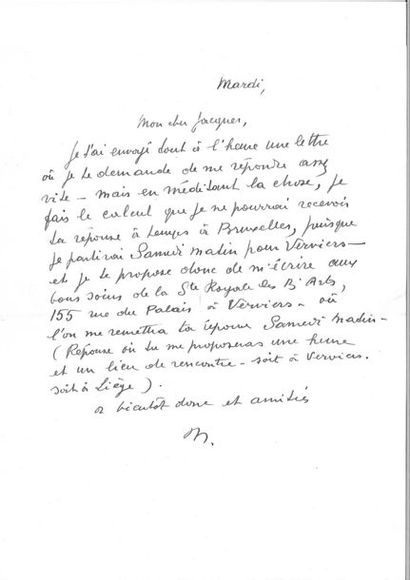 MAGRITTE (René). Lettre autographe signée de son initiale à son « cher Jacques »...