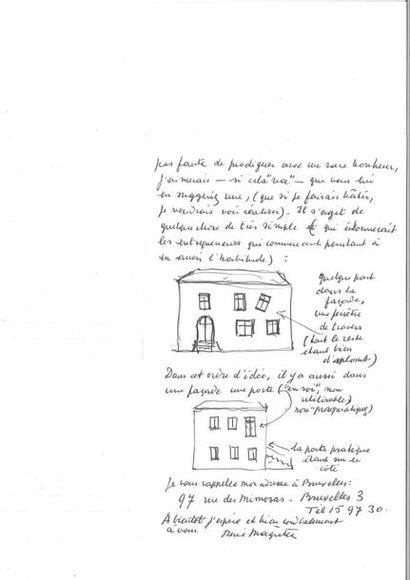 MAGRITTE (René). Lettre autographe signée avec 2 CROQUIS ORIGINAUX, adressée à de...
