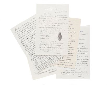 MAGRITTE (René). 5 lettres autographes signées (2 « René Magritte » et 3 « RM »),...