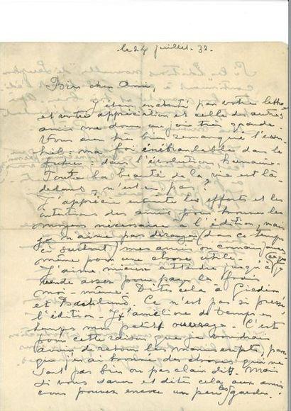 MONDRIAN (Piet ). Lettre autographe signée,...