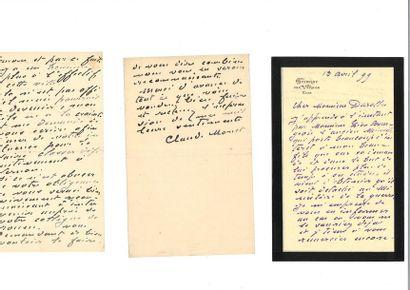 MONET (Clau de). 3 lettres autographes signées...