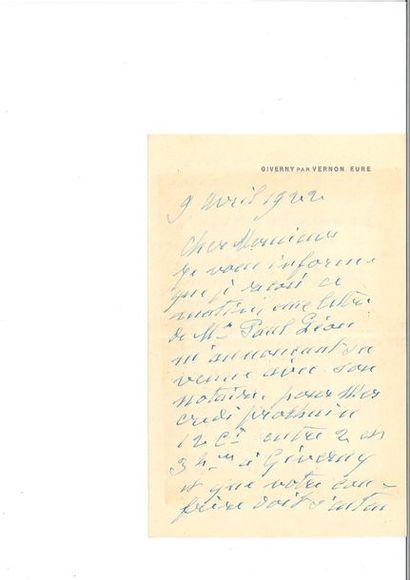 MONET (Clau de). Lettre autographe signée. Giverny, 9 avril 1922. 1 p 3/4 in-8....