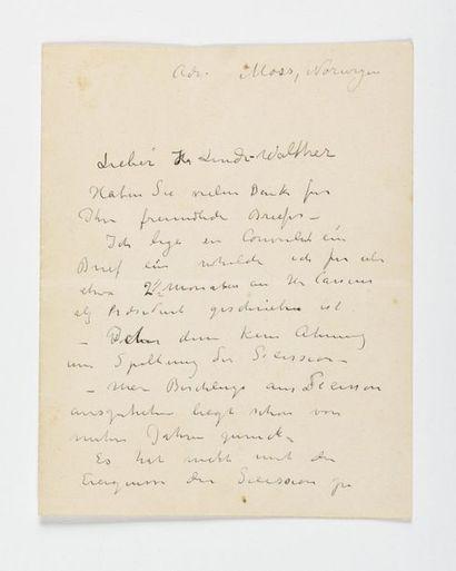 MUNCH (Edvard). Lettre autographe signée, en allemand, au peintre allemand Heinrich...
