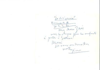 PICASSO (Pablo). Lettre autographe signée...