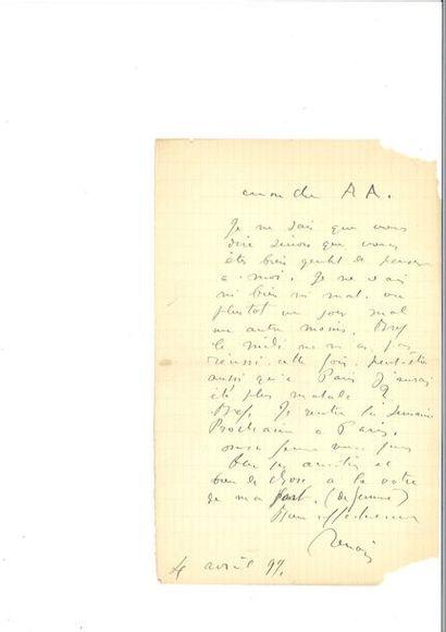 RENOIR (Auguste ). Lettre autographe signée. S.l.n.d. 1 p. 1/2 in-8, moitié basse...