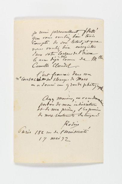 RODIN (Auguste ). Lettre autographe signée au Courrier de l'Aisne. Paris, 19 mai...