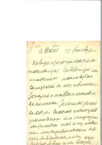 VUILLARD (Édouard). Lettre autographe signée...