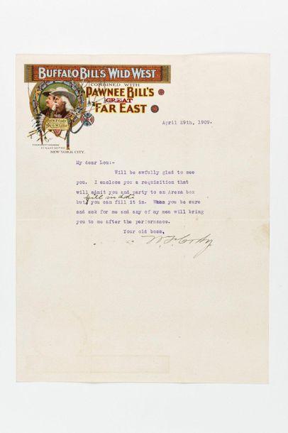 CODY (William Frederick). Lettre signée à...