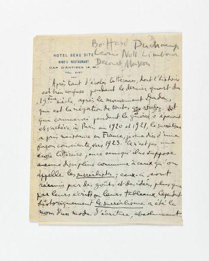 ARAGON (Louis). Manuscrit autographe. [1926]....