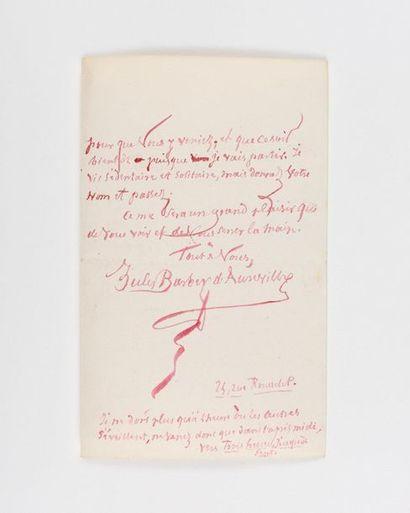 BARBEY D'AUREVILL Y (Jules). Lettre autographe...